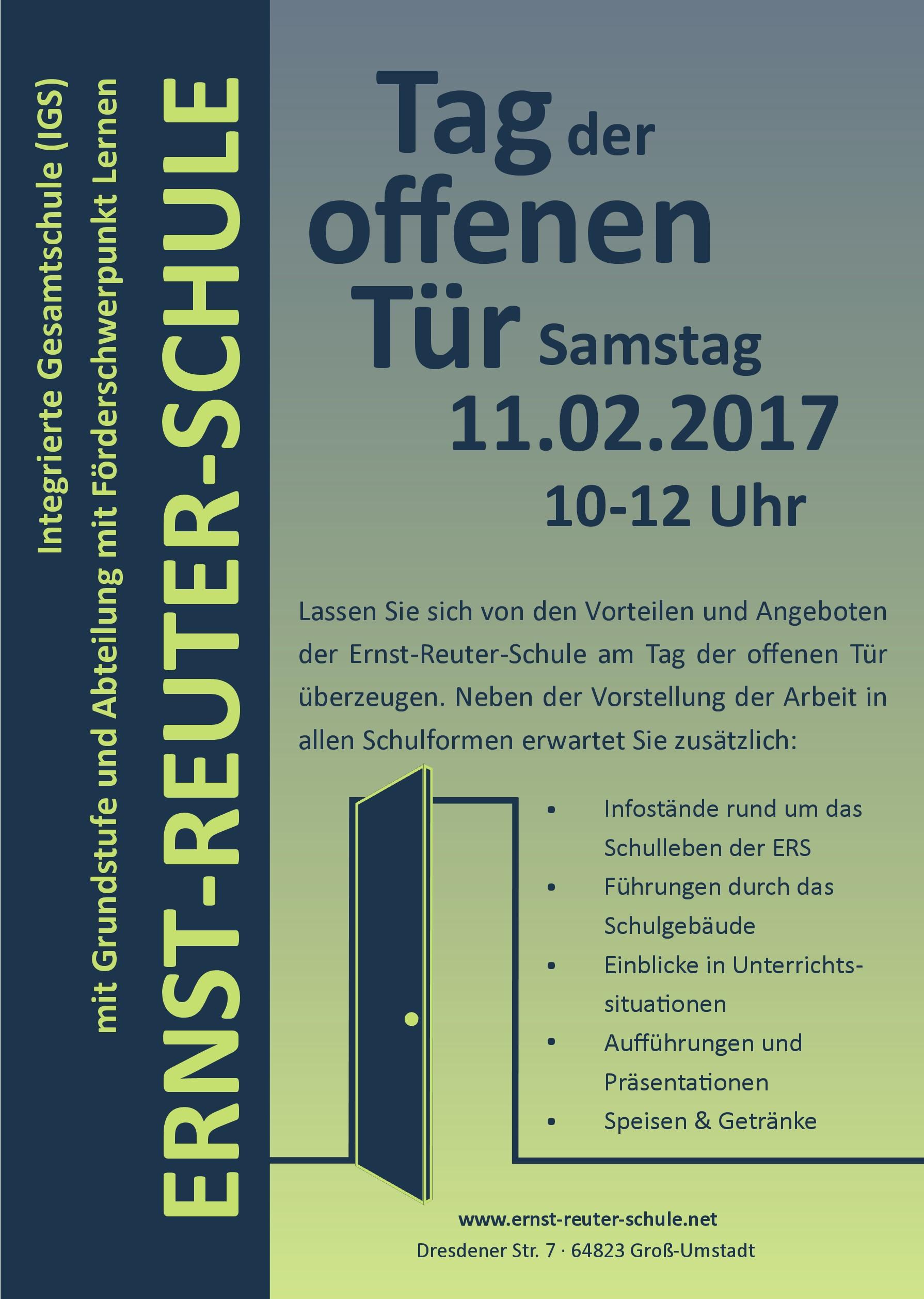 Wann ist tag der offenen tür  Vorankündigung: Tag der offenen Tür am 11.02.2017 — Ernst-Reuter ...